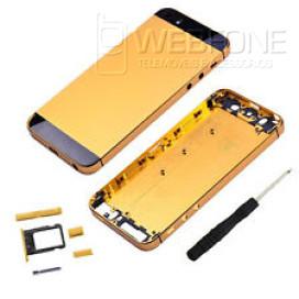Iphone 5S - Capa traseira completa montagem Dourada