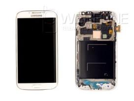 Full Front LCD Digitizer com frame S4 I-9505 Branco