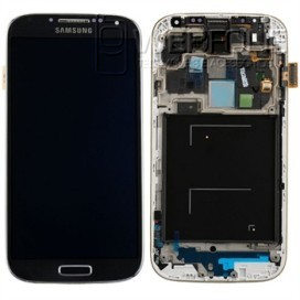 Full Front LCD Digitizer com frame S4 I-9505 Preto